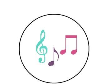 Cross Stitch Pattern, Music Notes Colorful Cross-Stitch Pattern PDF