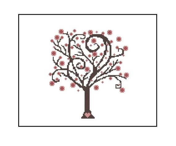 Whimsical Tree Cross Stitch Pattern, Cherry Blossom Tree Cross-Stitch Pattern PDF