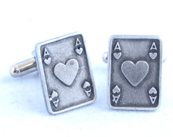 Ace of Hearts Playing Card Cufflinks by Hoardersworld in Fine English Pewter, Gift Boxed