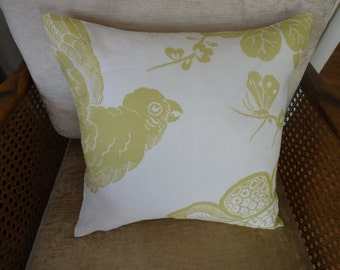 "Schumacher ""Bali Vine"" Pillow, Bird"