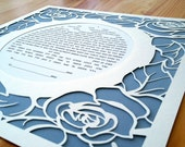 Papercut Ketubah With Roses in a Circle