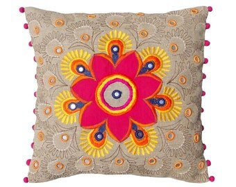 """Colorful bohemian style linen pillow cover, embroidered pillow case, tribal, indian craft pillow, ethnic, 16""""X16"""""""