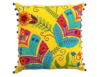 Yellow Stylized Floral  embroidered cushions