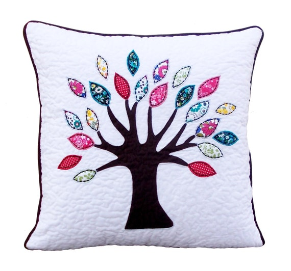 Free Throw Pillow Quilt Pattern : Items similar to SALE 50% off, Quilted pillow, tree pattern, applique, embroidery, quilted ...