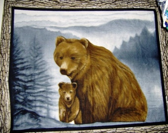 Black Brown Bear and Cub Fleece Throw