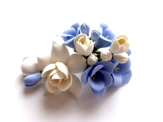 Accessories, hair clip, clay flowers, wedding style, bridal hair clip, white and blue