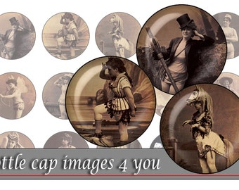 Hilarious burlesque - Digital Collage Sheet,1 inch round images for bottle caps, pendants, magnets, buttons