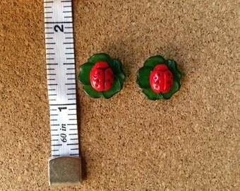 Cute ladybug on a leaf earrings