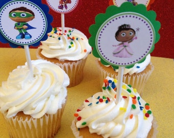 Super Why cupcake toppers, 12 ready-to-ship item