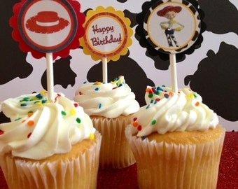 Jessie Toy Story Cupcake Toppers, 12 Ready to Ship