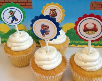 Super Mario Cupcake Toppers, 12 Ready-to-Ship item