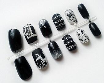 Black & White Hand Painted Fake Nails, False Nail Set, Artificial Nails, European Short Nails, Hand Painted Nail Art
