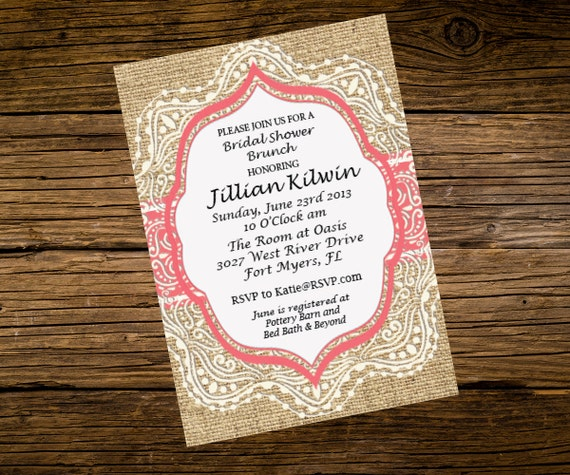 burlap and lace with coral bridal shower invitation