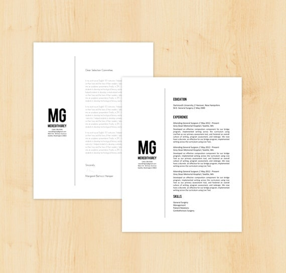 Resume Template Cover Letter Template The Sara By Phdpress: Resume Template / Cover Letter Template The Meredith By