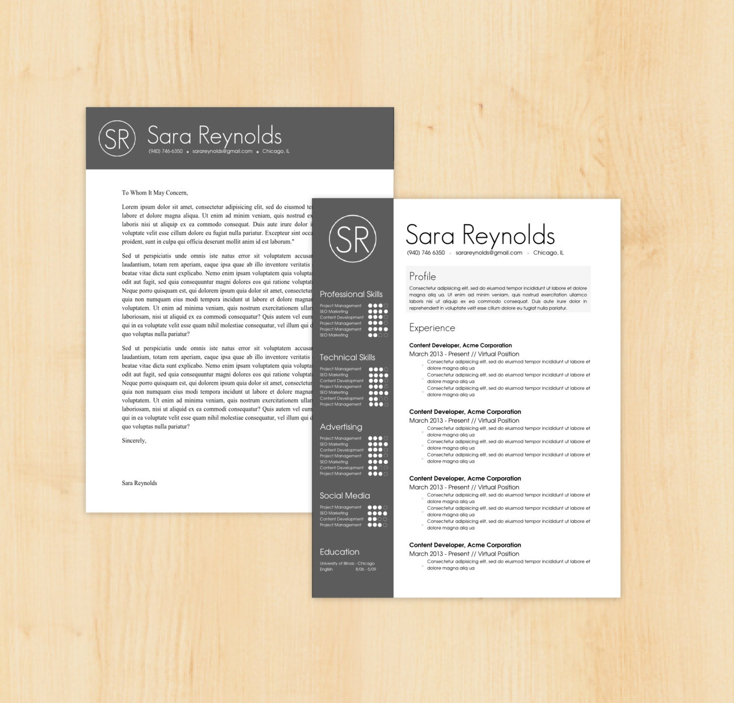 Resume Template Cover Letter Template The Sara By Phdpress: Resume Template / Cover Letter Template The Sara By PhDPress