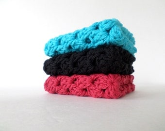 crochet cotton wash cloths dishcloths granny square wash cloths turquoise red black set of three 8x8 inches