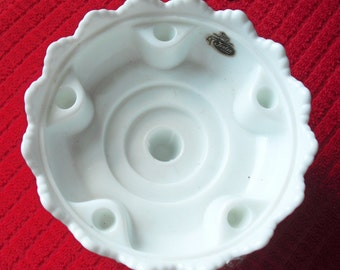 MILKGLASS CANDLEHOLDER by FENTON Patent No. 3547569 - Vintage Hobnail from the Seventies