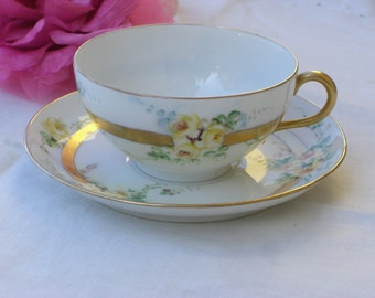 Cup and Saucer - Bavarian China - Antique