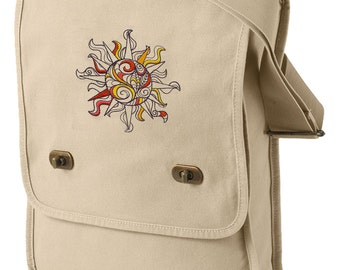 Doodle Sun Embroidered Canvas Field Bag