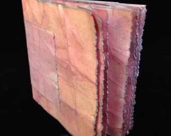 Antique Rose, Hand Bound, Hand Inked Tag Journal