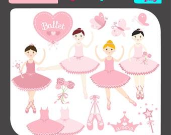 Ballerina Clip Art/Digital Clipart / Ballerina Clipart / Ballet Clip Art/Ballerina Clipart/scrapbooking clipart/vector graphics/images/imag