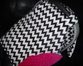 Carseat Canopy Minky Chevron Shocking Pink Blanket Cover car seat canopy car seat cover infant car seat