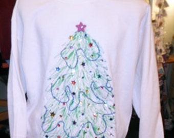 Hand Painted Christmas Sweatshirt - Womens