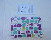 Purple, Aqua, Chartreuse, and White Small Zippered Pouch