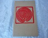 Large Hand-Stamped Labyrinth Moleskine Kraft Journal with Plain Pages