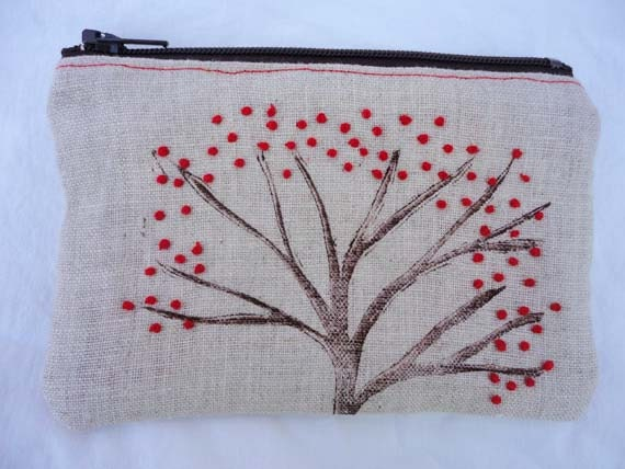 Hand stamped and embroidered small zippered tree pouch, red