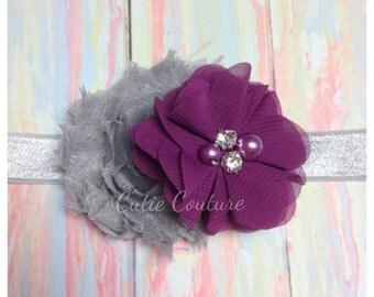 Plum Headband, Plum and Gray Headband, Gray Headband, Purple Headband, Grey headband, plum birthday headband, plum flower girl headband