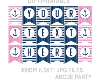 Personalized Banner Girl Nautical Party Decoration (PDN007) PRINTABLE DIY