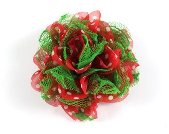 3.75 inch Christmas Chiffon Lace Flower in Red Polka Dot & Green Lace - Flower Head for Headbands and DIY Hair Accessories