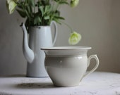 French Ironstone Ivory Coloured Vintage Chamber Pot  By Sarreguemines / Circa 1940's /  Époque Vintage