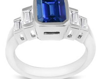 2.00 Carat Sapphire & 1/2 Carat Diamond Ring