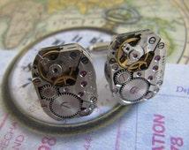 Steampunk, Steampunk Cufflinks, Steampunk Jewelry, Groomsmen Gift, Watch Movement, Mens Gift, Watch Parts, Gift ideas, CL16