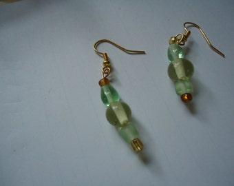 Green, Gold and Bronze earrings
