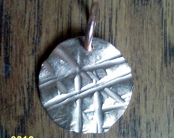 Hammered copper pendant #16