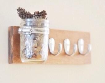 Key/Towel Mason Jar Vase Holder