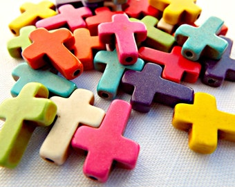 Howlite Cross Beads, Dyed Howlite Cross, Cross Bead Strand, 25 Pcs Cross Bead, Multi Color Bead, Crucifix Beads, Red Howlite, Pink Howlite