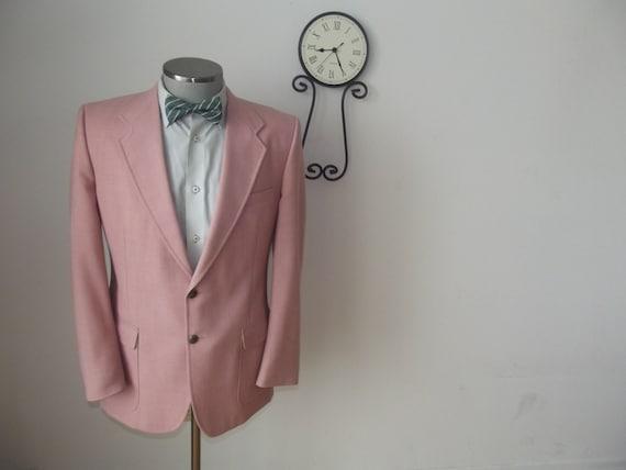 vintage rosa blazer 80er jahre herren suit jacket von. Black Bedroom Furniture Sets. Home Design Ideas