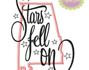 Stars Fell on Alabama Machine Embroidery Applique Design