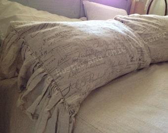Ruffled Pillow Sham - Linen - French script - Handmade