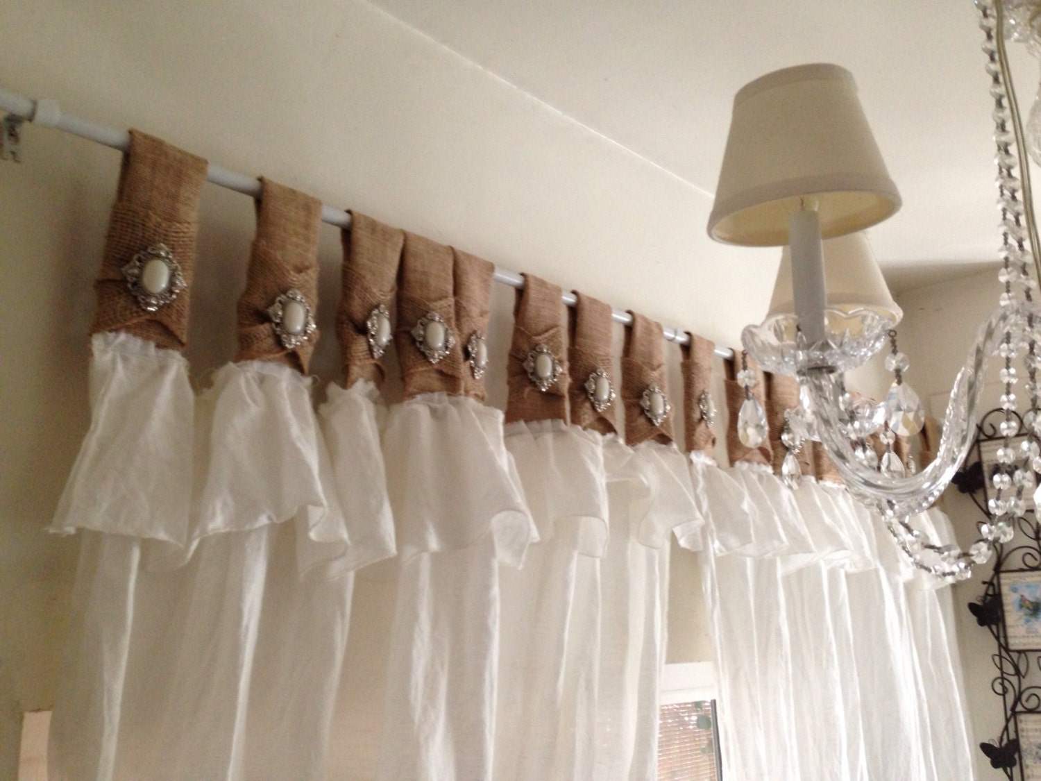 Burlap And White Linen Curtains With Jewelry By