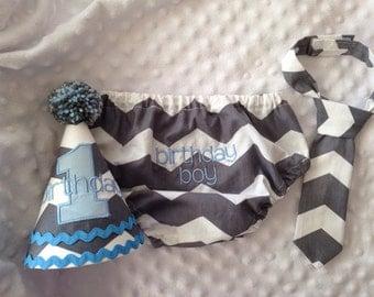 Boys Cake Smash Outfit - Gray Chevron - Diaper Cover, Tie & Birthday Hat - Birthday Set