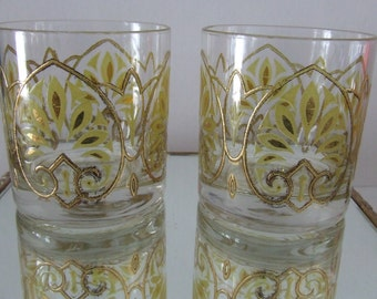 Set of 2 Gold // Avocado  Low Ball Glasses Gold Tone Heavy