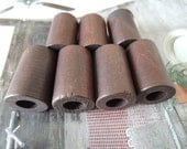 16Pcs  30X19mm Brown Wood  Tube bead Big hole 9mm( W441)