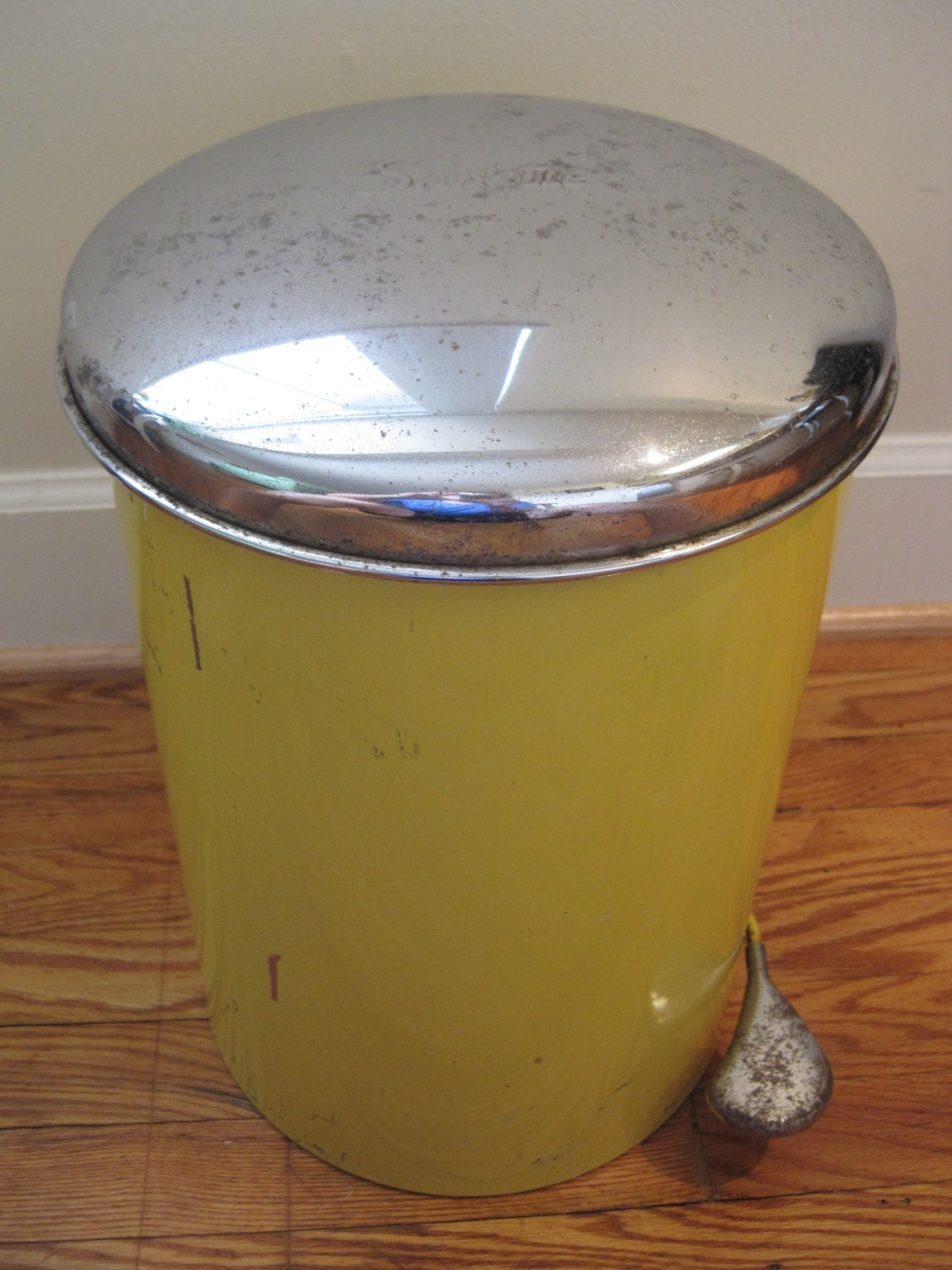 Vintage Retro Sanette Yellow Trash Can W Pedal And By