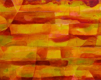 "ORIGINAL fine art, modern geometric painting, abstract red, yellow, gold acrylic on canvas ""Tierra Fuego""-20""x40"""