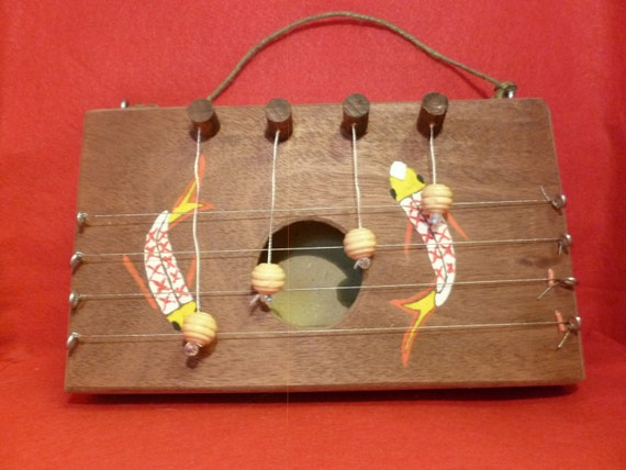 Handmade hanging door chime dulcimer with koi fish painting for Koi fish wind chime